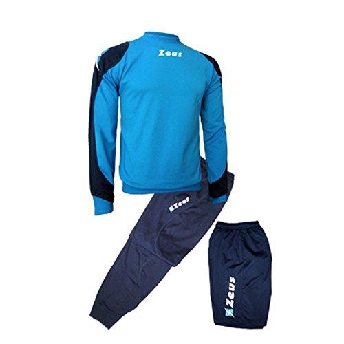 Zeus Herren Sportanzug Trainingsanzüge Running Laufen Training Sport Set Trikot Shirt Shorts Hosen Bermuda TRIS Napoli BLAU ROYAL (XXS)