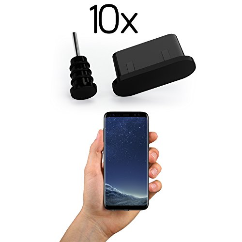 innoGadgets 10x Anti Dust Plugs for Smartphone, MacBook, Laptop | USB-C Dust Plug for Samsung Galaxy S8, S9, S10 | Silicone Dust Plug – Black