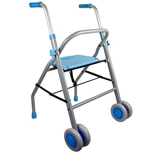 Mobiclinic, Modelo Future, Andador para mayores, adultos, ancianos o minusválidos, de acero y aluminio, ligero, plegable, con asiento y ruedas, Color Celeste