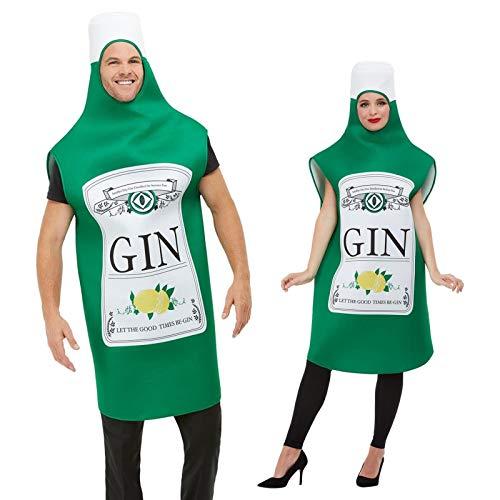Disfraz de botella de ginebra divertido para hombre y mujer