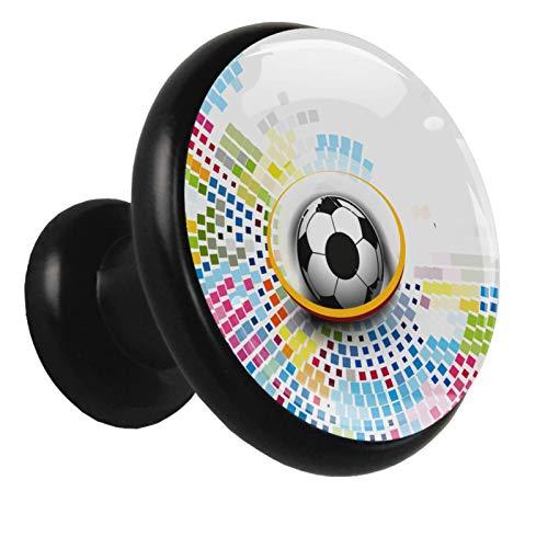 Perilla de gabinete Perillas de puerta Manija de extracción en forma de hongo con tornillos para gabinete Armario Cajón Armario 4 piezas Negro parrilla de futbol 3.2×3.0cm