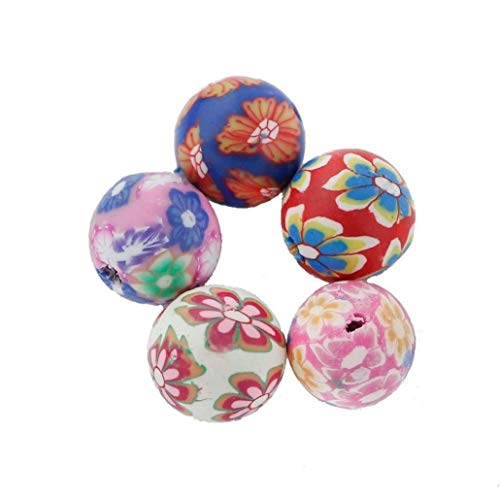 50pcs Round Polymer Clay Beads Colorful Handmade Spacer Beads for Jewelry Making Massage Tools