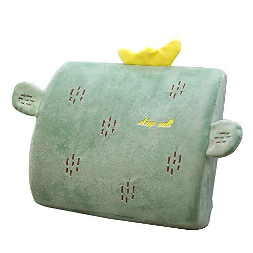 MOOUK Lenden Kissen Stütze Sitzkissen für Auto oder Büro Stuhl, Cartoon Plüsch Memory-Schaum Kissen, Bequem Rückenlehne Taille Kissen - Kaktus, Einheitsgröße
