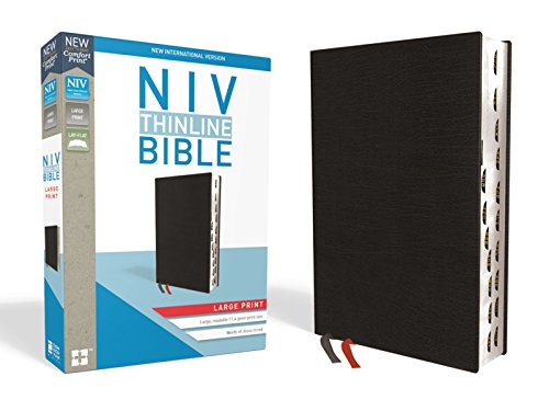 Compare Textbook Prices for NIV, Thinline Bible, Large Print, Bonded Leather, Black, Red Letter Edition, Thumb Indexed, Comfort Print Indexed, Large Print, Thumbed Edition ISBN 9780310448334 by Zondervan