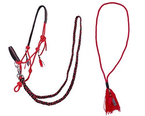 Arbo-Inox Knotenhalfter Zügel Halsring Kombiset Knotenhalfter-Set (Shetty, Rot)