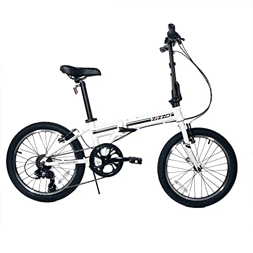 ZiZZO Campo 20 inch Folding Bike with Shimano 7-Speed, Adjustable Stem, Light Weight Aluminum Frame (White)