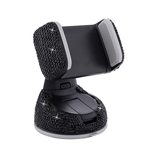 Soporte para teléfono para automóvil, decoración de Diamantes de imitación Soporte para teléfono móvil Soporte para teléfono Inteligente (Black)