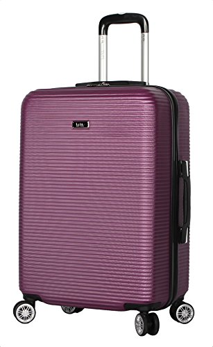 Nicole Miller New York Luggage Collection - 24 Inch (ABS+PC) Hardside Suitcase - Lightweight Designer Checked Bag with 8-Rolling Spinner Wheels (Bernice Purple)