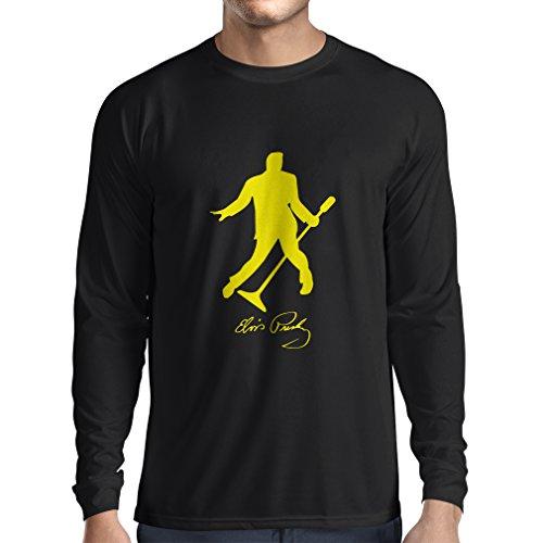 lepni.me Camiseta de Manga Larga para Hombre Me Encanta el King of Rock and Roll, 50s, 60s, 70s, Music Fan (Large Negro Amarillo)