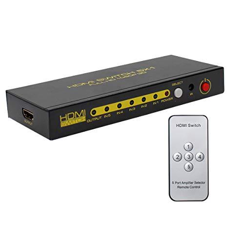 HDMI-Splitter 1 in 2 Out, unterstützt 4K 3D 1080P, 2 gleiche Ausgänge gleichzeitig, HDMI-Switch mit HDMI-Kabel Plug and Play für Xbox, PS4, PS3, Blu-Ray Player, DVD, HDTV (grau)