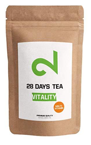 DUAL Vitality - Multivitamin Tea | Té 100% Natural Y Vegano | Té De Hojas Sueltas 100g |Sabor A Limón Y Baya De Goji|Sin Azúcar Ni Aditivos | Enriquecido Con Vitaminas|Certificado |Hecho En La UE