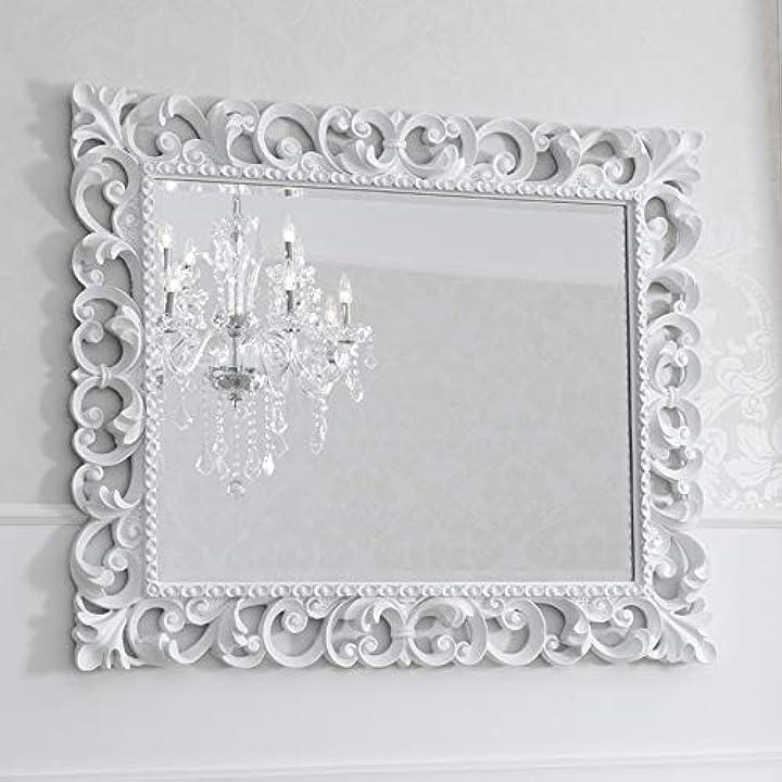 Specchiera zaafira stile barocco cornice traforata bianco laccato specchio molato cm 94 x 74 simone guarracino SI550009WTH