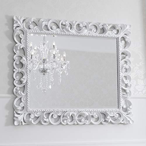 SIMONE GUARRACINO LUXURY DESIGN Miroir Luxe Zaafira Style Baroque Cadre perforé Blanc laqué Miroir biseauté 107 x 87 cm