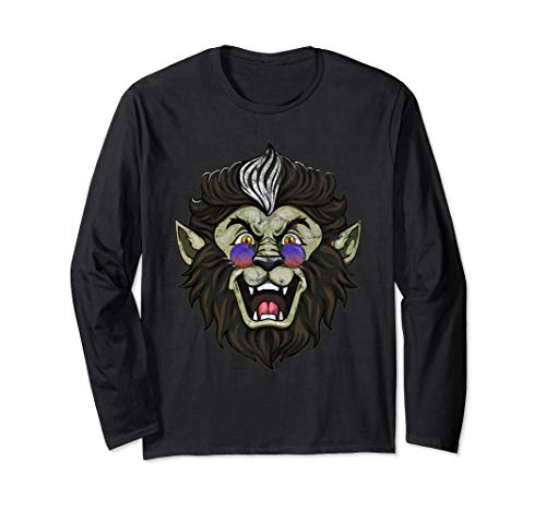 Halloween Werewolf In Cool Shades Distressed Costume Party Langarmshirt