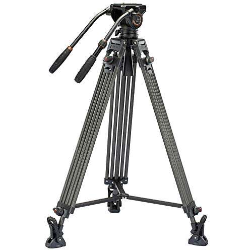 Cayer BV25LH Video Tripod System, 74 inch Carbon Fiber Professional Heavy Duty Camera Tripod Kit, Twin Tube Tripod Leg with K3 Fluid Drag Head, 2 Pan Bar Handles, Max Loading 13.2 LB