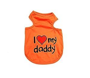 Ranphy Petit Chien Gilet T-shirt pour mâle femelle Imprimé I Love Mommy Daddy Tank TOPS Chemise d'été