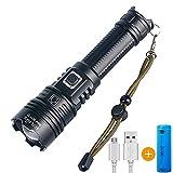Helius LED Taschenlampe Extrem Hell 5000 Lumen IPX67 Wasserdicht USB Aufladbar Fackel 5 Lichtmodi, Zoombar, Lange Arbeitszeit Taktische Handlampe Camping Wandern und Notfälle Anwendung (21700 Akku)