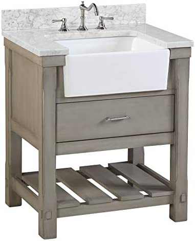 Amazon Com Charlotte 30 Inch Bathroom Vanity Carrara Weathered Gray Includes Weathered Gray Cabinet With Authentic Italian Carrara Marble Countertop And White Ceramic Farmhouse Apron Sink Everything Else