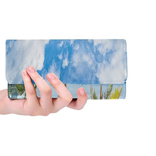 Einzigartige Benutzerdefinierte Urlaub Tropischen Ländern Liegestühle Regenschirm Frauen Trifold Wallet Lange Geldbörse Kreditkarteninhaber Fall Handtasche