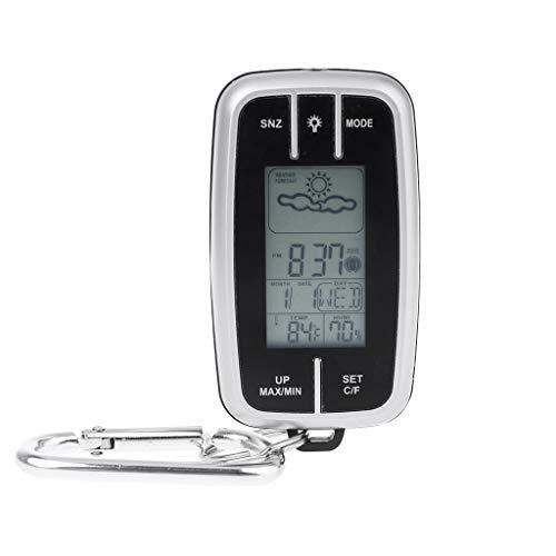 Wetterstation, Mini Wetterstation, tragbar, Vorhersage von Temperatur, Feuchtigkeit, Wanduhr, Taschenlampe, Zirkel, Thermometer, Außentasche, Werkzeug EDC