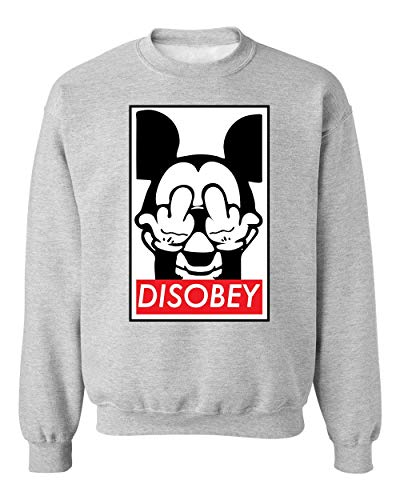 Mickey Mouse Disobey FCK You Unisex Sweatshirt Sweater Jumper Medium