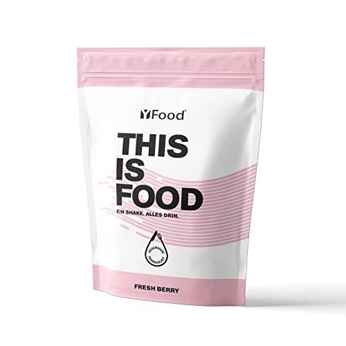 YFood Pulver | Laktose- und glutenfreier Nahrungsersatz | 17 Mahlzeiten, 26 Vitamine & Mineralstoffe | Proteinpulver zum Selbermischen| Leckerer Eiweiß-Shake | 1,5kg Beutel (Beere)