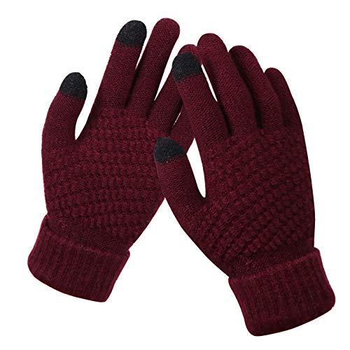 DDSCB Women Winter Gloves,Rojo Vino Guantes De Pantalla Táctil Cálidos Guantes De...