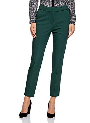 oodji Collection Mujer Pantalones Ajustados con Pinzas, Verde, ES 38 / S