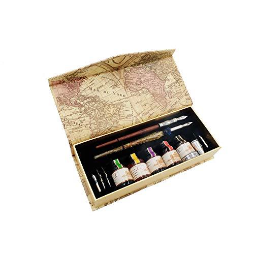 GC-LL19 Juego de plumas de caligrafía, pumas de madera y cristal con 5 plumines adicionales y tinta, en caja de regalo, para principiantes