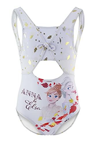 Frozen Movie Disney - Bambina - Costume Intero 1 Pezzo Mare Piscina - Prodotto Originale con Licenza Ufficiale [1861 Bianco - 4 Anni]
