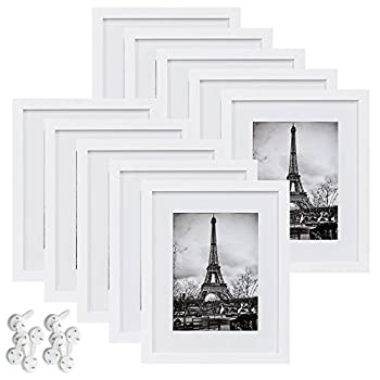 upsimples 8x10 Picture Frame Set of 10,Display Pictures 5x7 with Mat or 8x10 Without Mat,Multi Photo Frames Collage for Wall or Tabletop Display,White
