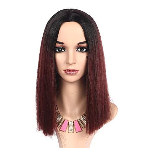 MEIRIYFA peluca corta recta Bob parte media peluca de pelo sintético longitud del hombro peluca para mujeres con gorra de peluca para fiestas diarias Cosplay Halloween-35,5 cm (rojo vino)
