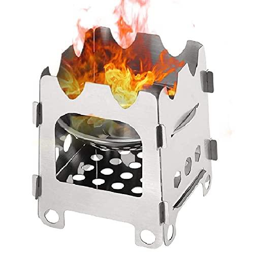 WLQWER Estufa de Camping Estufa de leña Ligera de Acero Inoxidable Estufa de Alcohol solidificado Estufa portátil al Aire Libre Senderismo Cocinar Picnic BBQ
