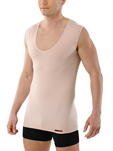 ALBERT KREUZ Camiseta Interior Invisible Color Carne/Piel/Beis con Cuello de Pico Profundo, sin Mangas y de algodón elástico 05/M
