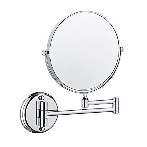 Lefang Badkamerspiegel, aan de muur gemonteerd, multi vergrotingsglas, rekbaar en verchroomd, 360 graden roterende ronde dubbelzijdige spiegel