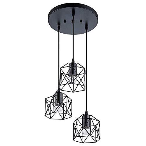 YANGQING Lámpara industrial de 3 luces, lámpara de araña de metal negro, pantalla ajustable para cocina, sala de estar, dormitorio, pasillo o barra