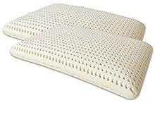 Marcapiuma - Pack de 2 Almohadas de Látex Modelo Jabón 70x40 - Almohada Látex Descanso Natural y Sano - 100% Espuma de Látex - Ergonómica Alivia Las tensiones cervicales - 100% Fabricadas en Italia
