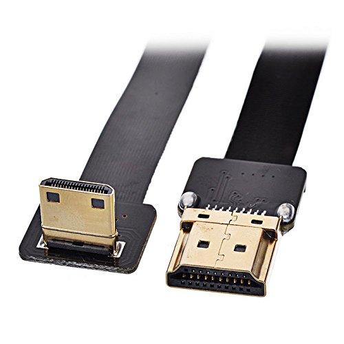 JSER 90 Grad nach unten gewinkelter FPV Mini HDMI Stecker auf HDMI Stecker FPC Flachkabel 50 cm für Multicopter Antennenfotografie JSER