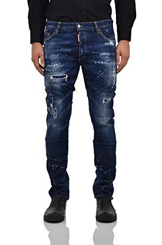 DSQUARED2 Ski-Jeans, Herren, blau, gefüttert, Denim Logo, 5 Taschen, Flecken, Reißen, Baumwolle, Knöpfe, Blau 46