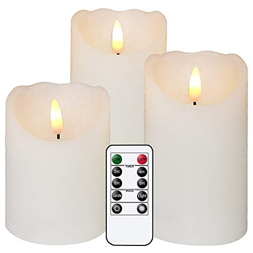 """Eldnacele Flameless Flickering Candles with Remote, 3D Wick Real Wax Battery Operated White Pillar Candles with Timer Set of 3 for Home Wedding Party Christmas Decoration (D3"""" x H4""""5""""6"""") White"""