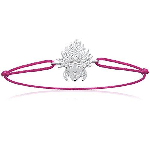 Les Plaisirs de Stella - Pulsera de plata 925/000 con cordón de algodón rosa ajustable