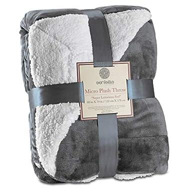 Genteele Super Soft Luxurious Sherpa Throw Blanket, 60  X 70 , Gray