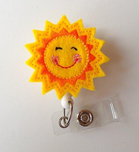 Smiling Sunshine - Retractable ID Badge Reel - Teacher Badge Holder - Cute Badge Reel - Nurse Badge Holder - Nursing Badge Clip - Felt Badge