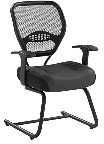 SPACE Seating Professional AirGrid Dark Back and Padded Black Eco Leather Seat, Fixed Arms and Lumbar Support Sled Base Visitors Chair