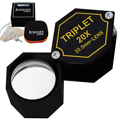 TEKCOPLUS 折りたたみ式 ルーペ 倍率 20倍 20.5mm トリプルレンズ 光学ガラス 時計作り コイン 切手 宝石鑑定用 拡大鏡 ジュエリールーペ