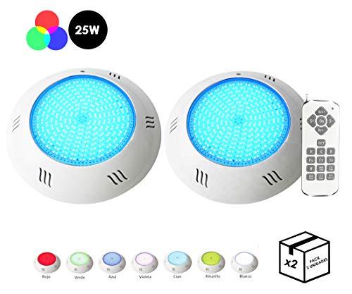 {Pack 2 FOCOS + Mando} Foco de Piscina LED RGB 25W Relleno de Resina 100{2de6292f61eb2503a578df4c525dd3941984bfe09f7a00899a45662a96de3402} hermético 12 Funciones de Colores instalación en Pared de Piscina sin Obra 2250 lumens Formato Slim/Super-Plano
