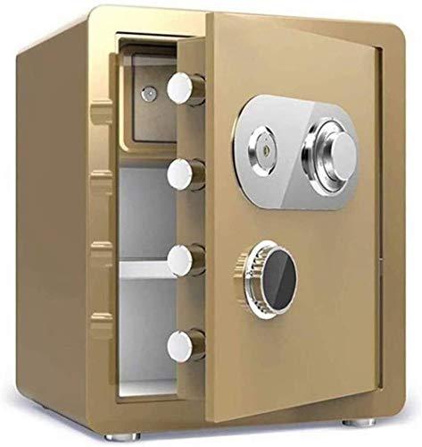 Vault kluis, safe, huishoudelijke mechanische sloten + sleutelvak, high security staal, anti-diefstal-vuur- en waterdicht, elektronisch 38X33X45Cm meubelkluis (kleur: goud)