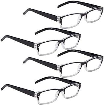 LUR 4-Pack Reading Glasses for Women and Men
