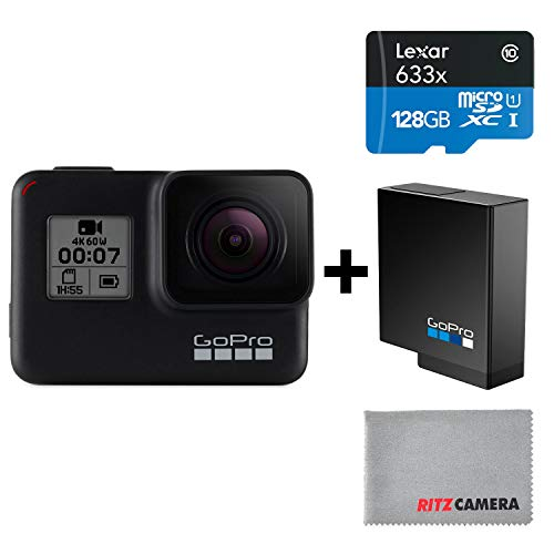 GoPro HERO7 Black Camera + Extra Rechargeable Battery + Lexar 128GB U3 microSDHC Card - Waterproof Digital Action Camera Touch Screen 4K HD Video 12MP Photos Live Streaming Stabilization