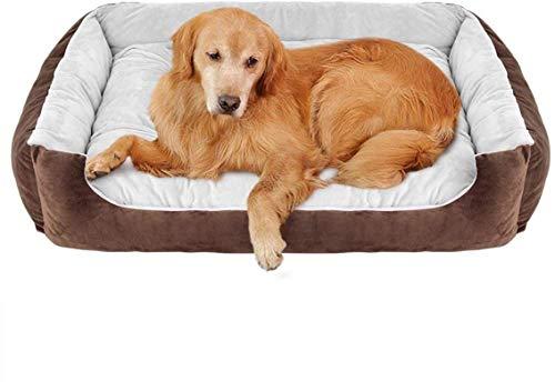 Leifeng Tower Cama de lujo para mascotas para perros y gatos lavable (color: beige, tamaño: XL:90 x 70 x 15 cm/35,5)
